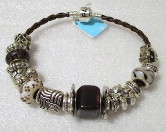 753 - CLEARANCE - Brown & White Beaded Bracelet