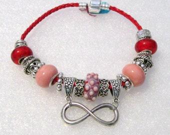 905 - Red & Peach Infinity Bracelet