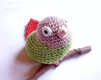 Greencheek Conure, Parrot Stuffed Animal, Crochet Parrot Toy, Amigurumi Miniature, Crochet Animal