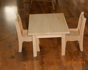 Handcrafted Wood Table and Chairs Set