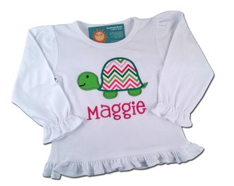 Girl's Turtle Shirt Chevron Frill Shirt with Embroidered Name