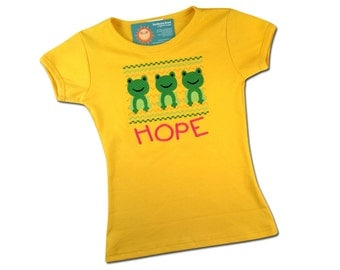Girl's Frog Shirt Faux Smocked with Embroidered Name