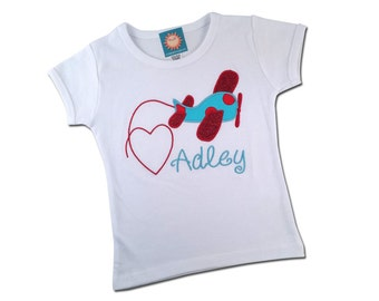 Girl Airplane Shirt with Hearts and Embroidered Name