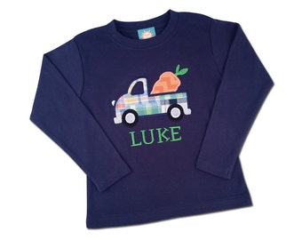 Boy's Easter Shirt with Easter Carrot Truck and Embroidered Name - M30