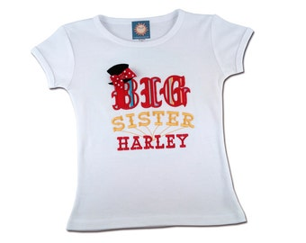 Big Sister Circus Shrit with Embroidered Name