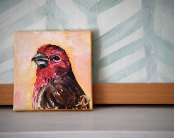 House Finch Original Oil Painting Tiny Painting Small Scale Bird Red