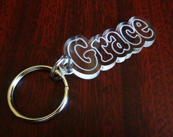 Grace Custom Name / Word Key chain, Name / Birthday / Valentine / Graduation / Seasons greeting / Just for Smiles Gift
