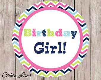 Instant Download Printable Chevron Birthday Girl Iron On Transfer Design. Birthday Girl Chevron Iron On. Birthday Girl Iron on Transfer.