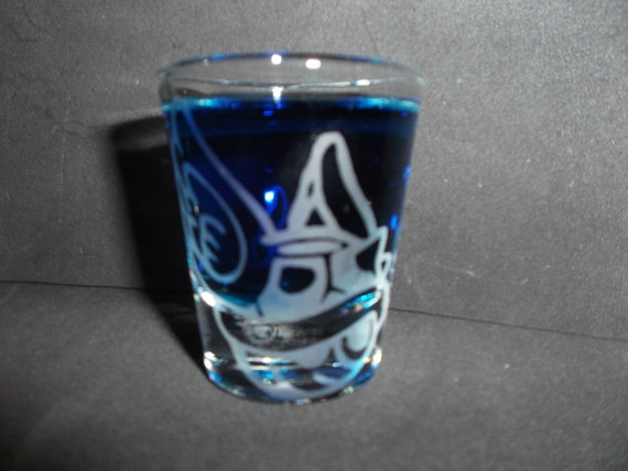 Blue turtle shell etched shot glass fan art