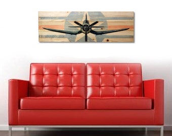 """Large F4U Corsair WWII Fighter Plane Wall Art on Solid Wood Boards - 32"""" x 11"""""""