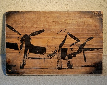 P-38 Lightning WWII Fighter Plane Wall Art on Distrssed Solid Wood Boards