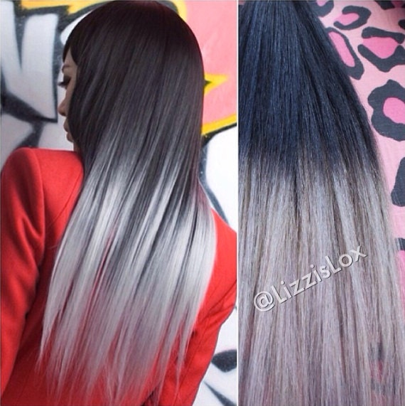 20 clip in extensions schwarz silber ombre 100 remy. Black Bedroom Furniture Sets. Home Design Ideas