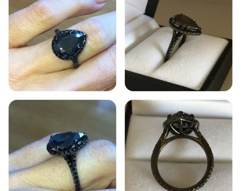 Pear Shape Eternity Halo Engagement Ring Black Moissanite Pear Shape 14.7X10mm &.72cttw Black Spinel 14kt Black Gold Wedding Anniversary