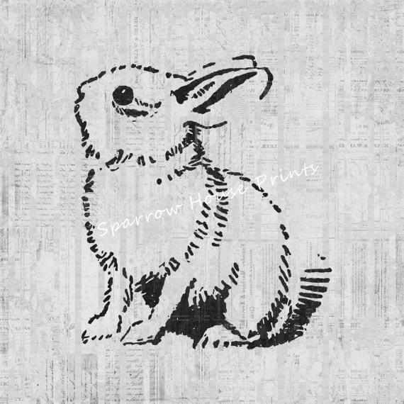 Cute Bunny Rabbit Print Wall Art Home Decor Antique