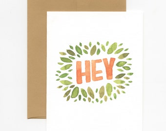 Hey! Watercolor Greeting Card with Leaves (Pack of 3)