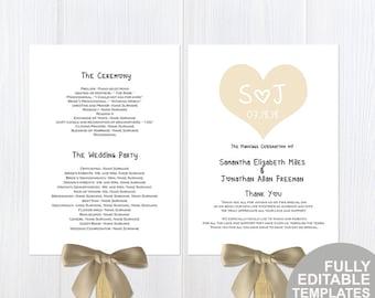 Rustic heart wedding fan programs| Printable DIY wedding program fan| Download instantly| T096A