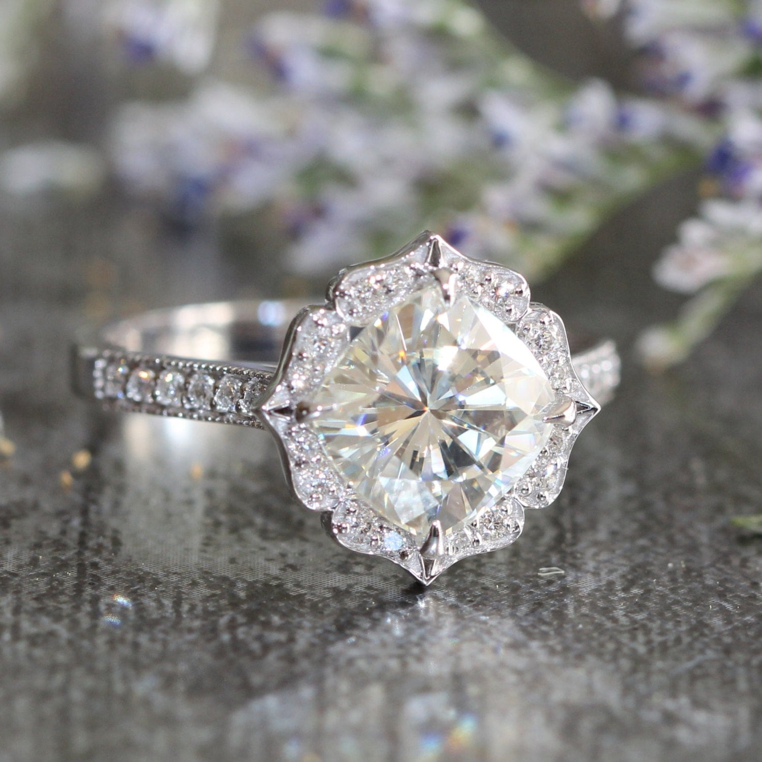 Vintage Inspired Floral Moissanite Engagement Ring by ...