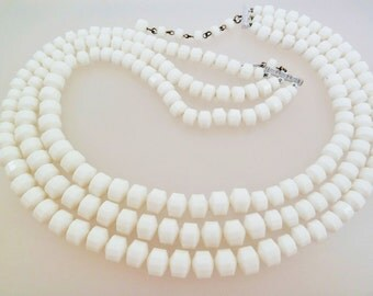 White Faceted Plastic Bead Three Strand Vintage Necklace Hong Kong