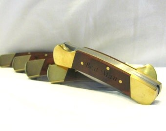Set of 5 Groomsmen Pocket Knives- Wood Handle Lockback