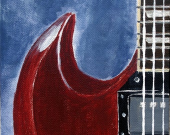Gibson SG, original guitar art, guitar painting