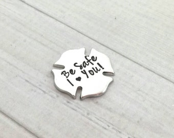 Personalized pocket coin - Hand Stamped Pocket Coin - Pocket Token - firefighters gift- I love you forever coin - love note