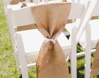 Rustic Wedding Chair Sash - Beach Wedding Chair Sash - Chair Sash - Burlap Chair Sash - Set of 10