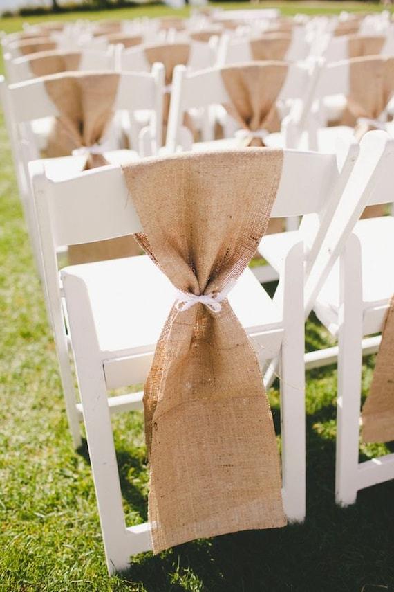 Burlap Chair Sash Rustic Wedding Chair Sash Beach Wedding