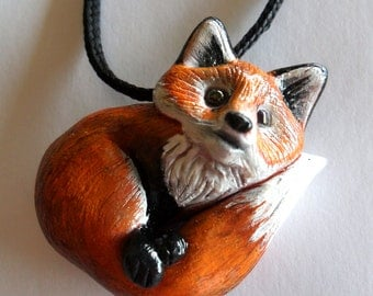 Red Fox Necklace - Animal Pendant Necklace - Ploymer Clay Jewelry - Polymer Clay Necklace