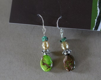 Lime green beaded and turquoise earrings