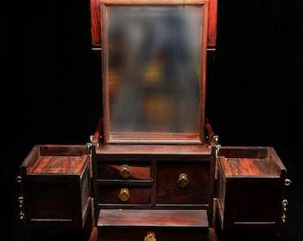 Rosewood Wooden Jewelry Box Convertible  Makeup Box Geisha-like box