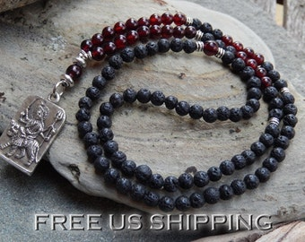 Garnet & Lava Mala, WrapBracelet, Necklace, 108 Prayer Beads, Yoga, Meditation, 1st Chakra, Buddhist Mala, Crystal Healing, Energy infused