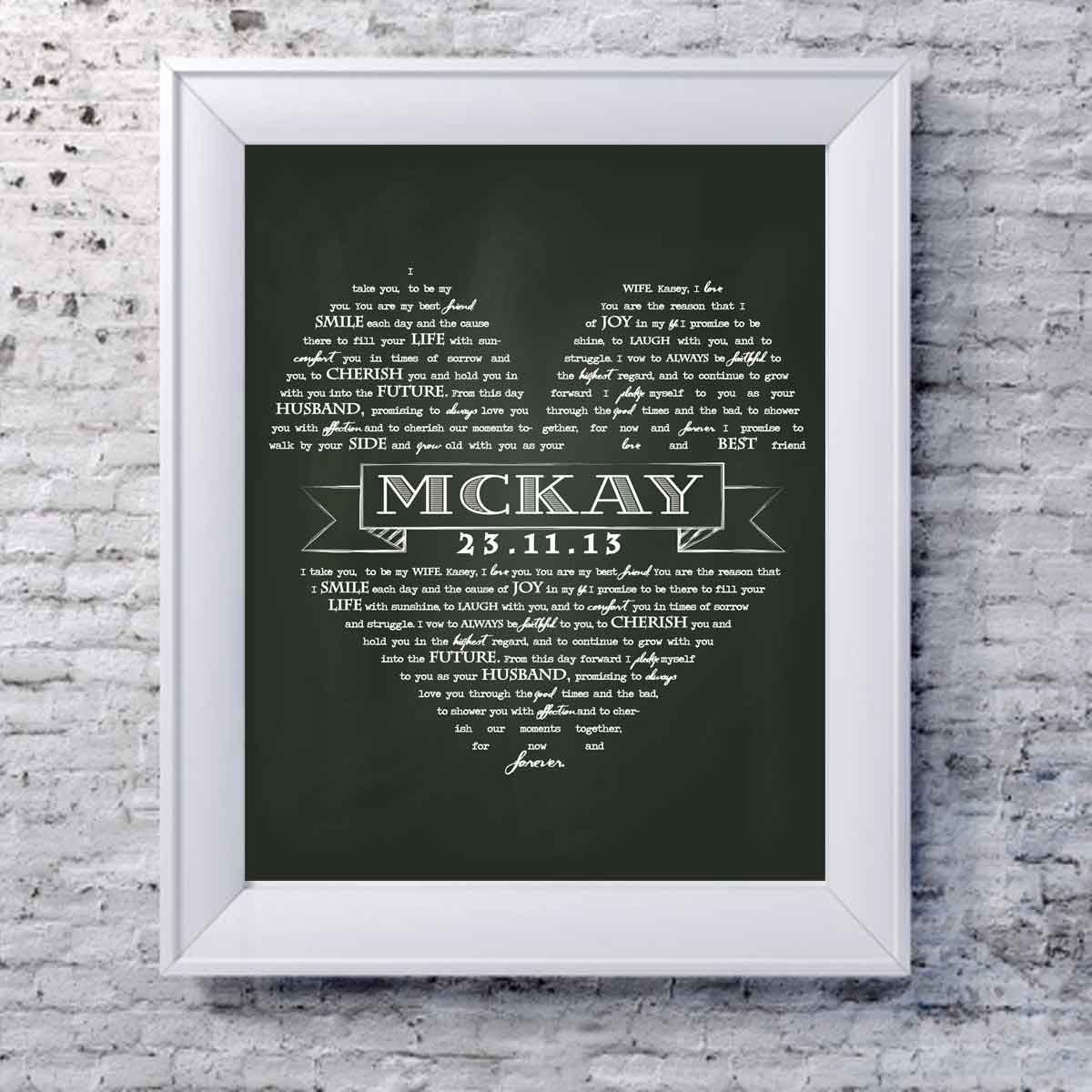 Personalized Wedding Vows: Unique Wedding Gift Personalized Wedding Vow Art Printable