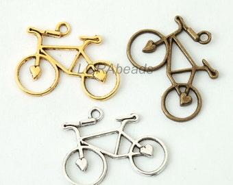 20pcs Tibetan Silver Bicycle Charms Pendants Findings 32x25mm