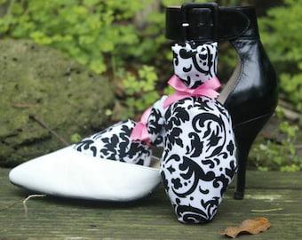 Black and White Victorian Shoe Sachets.