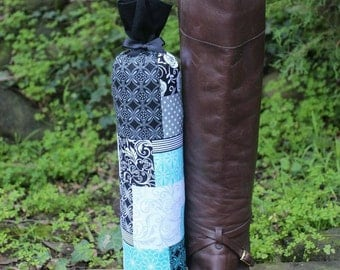 Pair of Boot Form Boot Trees - Knee High Turquoise, black and white patchwork with Cedar Fill