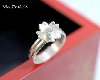 SAKURA Solitaire ring, Japanese SAKURA ring - 日本 - 桜 - さくら- Cherry blossom ring, CZ Solitaire ring, Sterling silver ring, Gift for her