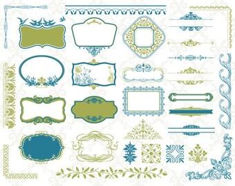 Instant Download Digital Border Frame Ornate Clip Art Flourish Swirl Scrapbook Decoration Embellishment Wedding Invitation Blue/Green 0179