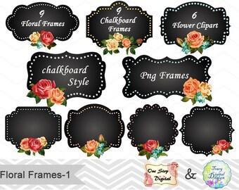 24 Chalkboard Digital Frame Clipart Chalkboard Floral Frame Clip Art Flower Frame Chalkboard Flower Label ClipArt Digital Floral Label 00156