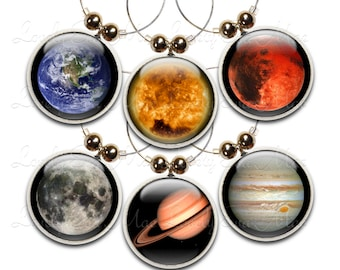 Space Wine Glass Charms, Wine Charm, Wine Gifts, Wine Accessories, Wine Jewelry, Wine Glas, Earth, Sun, Jupitor, Mars, Saturn, Full Moon