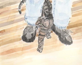Leo, the cat, figure eights around legs original watercolor painted by illustrator, artist for children's 32 page picture book