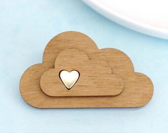 Cloud Brooch, Laser Cut Cloud Pin, Wooden Cloud Brooch, Hand Made Scarf Pin, Cloud Jewellery, Cute Jewelry, Mother's Day Gift, Heart Brooch