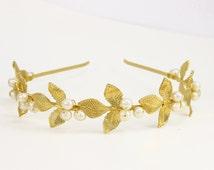 Bridal headband, Wedding hair accessories, gold pearl, bridesmaids headband, Grecian headband, flower girl headband, flower girl hair piece