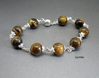 Brown tiger eye beaded bracelet, Tigers eye gemstone bracelet, Brown beaded bracelet, Tiger eye beaded chain bracelet, Tigers eye jewellery