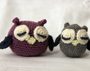 Mom and Baby Owl- Crochet Stuffed Animal- Amigurumi