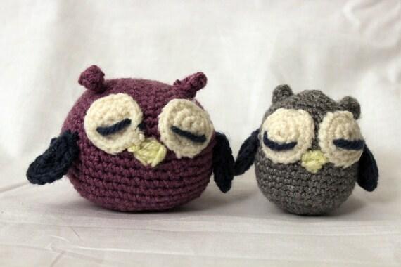 Mom and Baby Owl- Crochet Stuffed Animal- Amigurumi