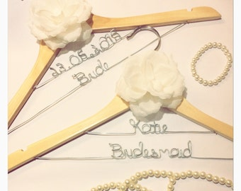 Natural Wood Bridal Hangers with Flower