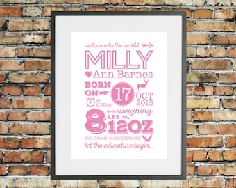 Personalised Typographic New Baby Girl Stats Print - Custom Birth Nursery Name Art Decor - Subway art - Modern Christening Gift