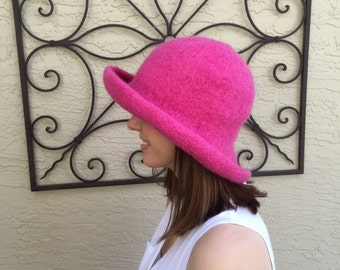 Hand knit and felted 100% wool hat