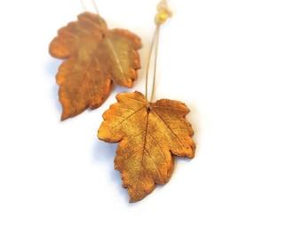 gold leaf dangle earring, leaves earring, polymer clay, clay leaves, leaf earring, nickelfree earring, real leaf earring, real leaves, egst