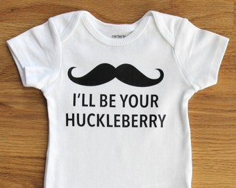 I'll Be Your Huckleberry Baby Boy Black Bodysuit Outfit, Huckleberry Onesie